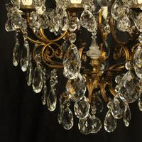 Italian Gilded & Crystal Bird Cage Antique Chandelier (3 of 10)