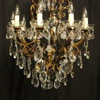 Italian Gilded & Crystal Bird Cage Antique Chandelier (4 of 10)