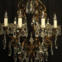 Italian Gilded & Crystal Bird Cage Antique Chandelier (5 of 10)