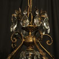Italian Gilded & Crystal Bird Cage Antique Chandelier (8 of 10)