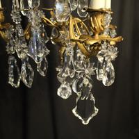 French Triple Light Bronze Antique Chandelier (4 of 10)