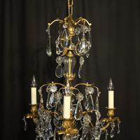 French Triple Light Bronze Antique Chandelier (5 of 10)