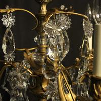 French Triple Light Bronze Antique Chandelier (8 of 10)