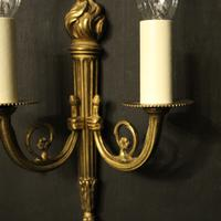 French Gilded Brass Twin Arm Lights (4 of 10)
