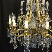 French Gilded Bronze & Crystal Antique Chandelier (3 of 10)