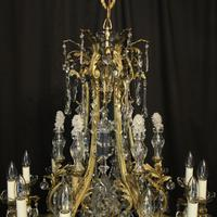French Gilded Bronze & Crystal Antique Chandelier (6 of 10)
