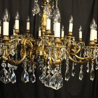 Italian Gilded & Crystal 15 Light Antique Chandelier (4 of 10)