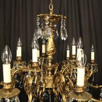 Italian Gilded & Crystal 15 Light Antique Chandelier (6 of 10)