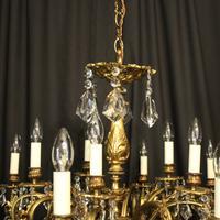 Italian Gilded & Crystal 15 Light Antique Chandelier (8 of 10)