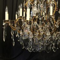 French Gilded & Crystal 15 Light Antique Chandelier (2 of 11)