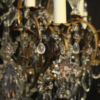 French Gilded & Crystal 15 Light Antique Chandelier (4 of 11)