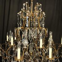 French Gilded & Crystal 15 Light Antique Chandelier (5 of 11)