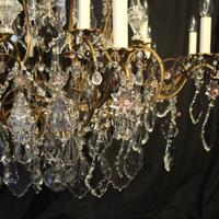 French Gilded & Crystal 15 Light Antique Chandelier (6 of 11)