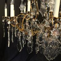 French Gilded & Crystal 15 Light Antique Chandelier (7 of 11)