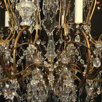 French Gilded & Crystal 15 Light Antique Chandelier (8 of 11)
