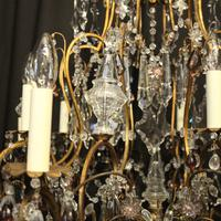 French Gilded & Crystal 15 Light Antique Chandelier (9 of 11)