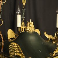 French Gilded Brass Empire 6 Light Chandelier (6 of 10)