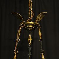 French Gilded Brass Empire 6 Light Chandelier (8 of 10)