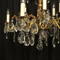 Italian Gilded Bronze & Crystal 12 Light Antique Chandelier (2 of 10)