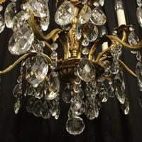 Italian Gilded Bronze & Crystal 12 Light Antique Chandelier (6 of 10)