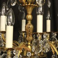 Italian Gilded Bronze & Crystal 12 Light Antique Chandelier (8 of 10)
