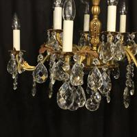 Italian Gilded Bronze & Crystal 12 Light Antique Chandelier (9 of 10)