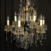 French Gilded & Crystal 10 Light Antique Chandelier (2 of 10)