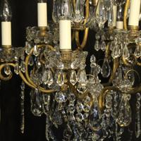 French Gilded & Crystal 10 Light Antique Chandelier (3 of 10)