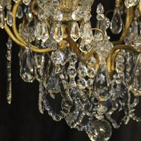 French Gilded & Crystal 10 Light Antique Chandelier (4 of 10)
