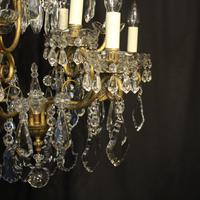 French Gilded & Crystal 10 Light Antique Chandelier (5 of 10)