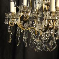 French Gilded & Crystal 10 Light Antique Chandelier (6 of 10)