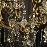 French Gilded & Crystal 10 Light Antique Chandelier (8 of 10)