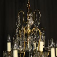 French Gilded & Crystal 10 Light Antique Chandelier (9 of 10)