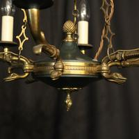 French Gilded Empire Six Light Chandelier (8 of 10)