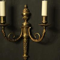 French Gilded Brass Twin Arm Antique Lights (3 of 10)