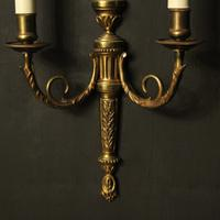 French Gilded Brass Twin Arm Antique Lights (7 of 10)