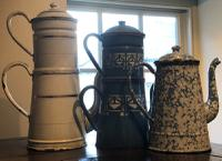 Antique Enameled French Coffee Pots