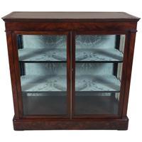 Mid 19th Century Biedermeier Flame Mahogany 2 Door Glass Cabinet