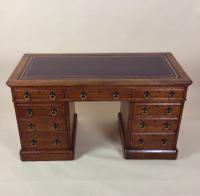 Victorian Gothic Oak 9 Drawer Pedestal Desk with Leather Top (6 of 13)