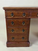 Victorian Gothic Oak 9 Drawer Pedestal Desk with Leather Top (8 of 13)