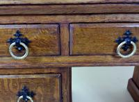 Victorian Gothic Oak 9 Drawer Pedestal Desk with Leather Top (9 of 13)