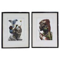 Pair of Watercolours of African Tribesmen by J P Ludo