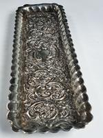 Beautiful Edwardian  Large Embossed Silver Pen Tray 1903