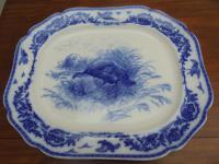 19th Century Cauldon Blue & White Turkey Platter / Meat Plate