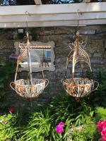 Pair of Distressed Metal Hanging Planters