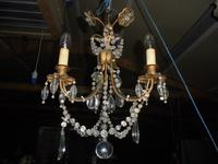 Three Branch Glass Chandelier C.1920 (6 of 8)
