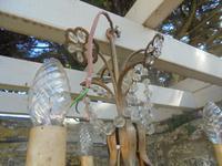 Three Branch Glass Chandelier C.1920 (5 of 8)