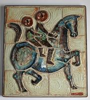 Large Stoneware Tile Panel, Birgit Krogh 'Danish' C.1970