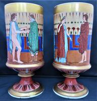 Pair of Greek or Egyptian Revival Porcelain Vases, Mid 19th Century