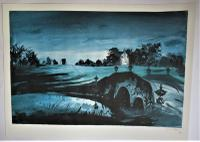 John Piper, Oxford Bridge, Stowe, Number 2 of 50, Signed Lithograph, 1983